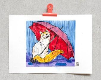 Cat Under Umbrella - Original Ink Drawing