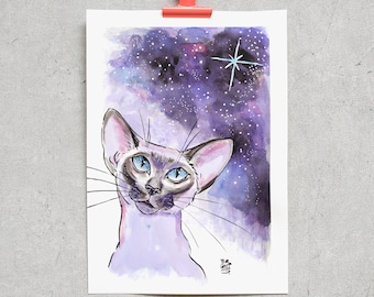 Cat Under the Starry Sky - Original Ink Drawing