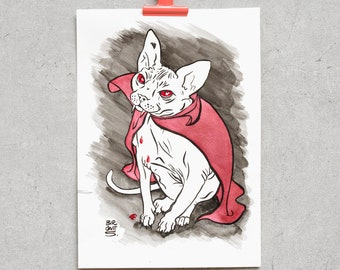 Cats Vampire – Original Ink Drawing with Red Shimmering Color