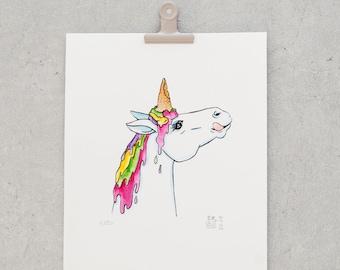 Ice Horn | Unicorn with ice - original screen print