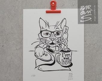 The Cat Boss – Original Linographic Print | limited #stayhome