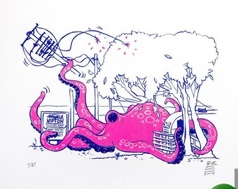 Octopus on the side of the road - Limited screen print