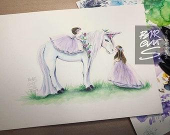 Original | Unicorn with flower girl
