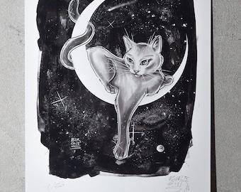 Moon Cat | limited matt digital artprint
