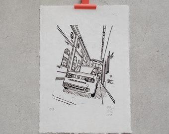 Cube, Boxcar – Original Linoldruck | limited