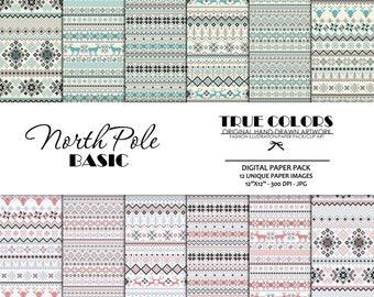 Nordic Basic Digital Paper Christmas Basic Digital Pack Blue Snowflake Digital Paper Winter Nordic Paper North Pole Digital Paper Pack Grey
