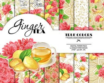 Ginger Tea Digital Paper Pack Relax Spa Digital Paper Pink Yellow Red Digital Paper Gold Mandala Digital Paper Roses Digital Paper Gold Foil
