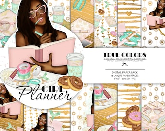 Afroamerican Planner Girl Afroamerican Digital Paper Pack Afro Planning Fashion Illustration African Princess Planner Girl Dark Skin Girl