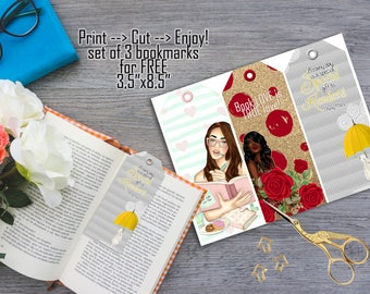 FREE Bookmark, Printable Bookmark, Free Instant Download Bookmarks, Set of 3 Bookmarks Low Cost