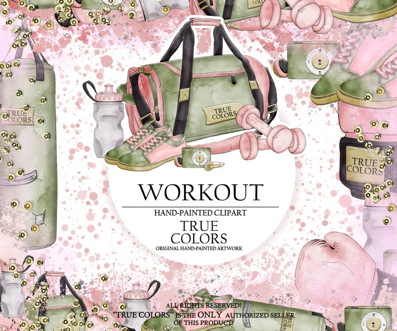Workout Clip Art Sport Gym Fashion Illustration Planner Stickers Supplies Watercolor Punch Bag Boxing Gloves Shoes Trainers Sticker DIY