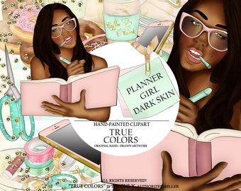 Dark skinned planner Girl Clip Art/Dark skinned planner Girl Clipart/planner girl supplies/Fashion Illustration/Planner Sticker/Coffee Cup