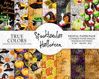 Halloween Digital Paper Pack Watercolor Hand-Painted Black Green Yellow Orange Pumpkin Potion Hat Caldron Bat Spider Web Teapot Lemon 6x6""
