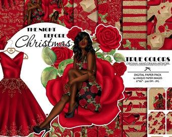 Afro American Princess Digital Paper Christmas Black Beauty Digital Paper African American Woman Digital Paper Pack Gold Glitter Gold Foil