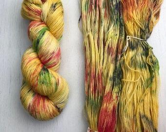 Hand dyed yarn, sock yarn, knitting yarn, merino cashmere blend, speckled, colorful