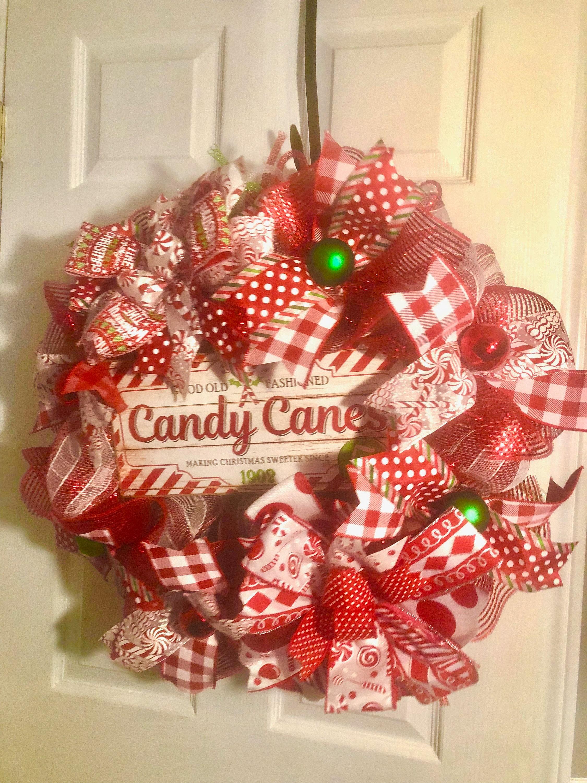 candy cane wreath deco mesh wreath christmas wreath door