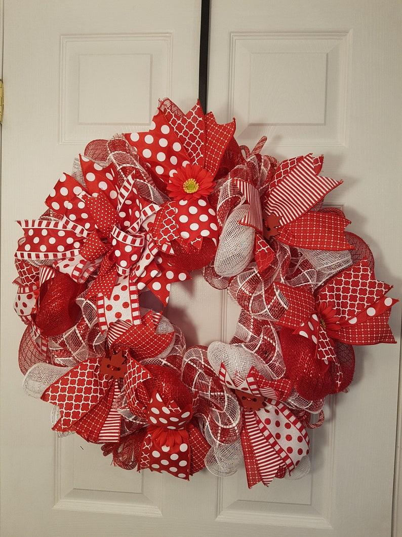 Canada Day Wreath Deco Mesh Wreath Front Door Wreath Etsy