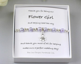 Thank You Flower Girl Pink Pearl Bracelet, Thank You Bridesmaid, Bridal Party Gift, Delicate Bracelet, Flower Girl Gift, Wedding Party