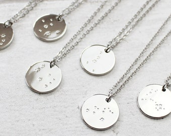 Silver Zodiac Sign Necklace, Star Constellation Necklace, Astrology Healing Jewellery, Christmas Gifts For Her, Gifts for Teen Girl, Virgo