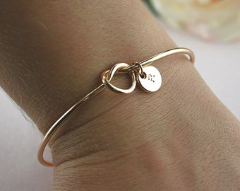 Gold Knot Bangle Bridesmaid Proposal Idea, Bride Gift, Christmas Gifts, Gifts for Women