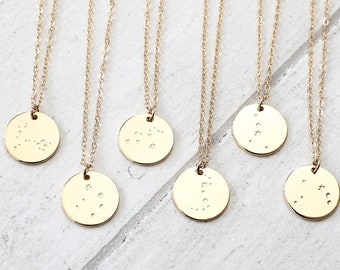 Gold Constellation Necklace Star Sign Necklace Zodiac Celestial Jewellery Astrology Gift for Her Jewellery Gift for Teen
