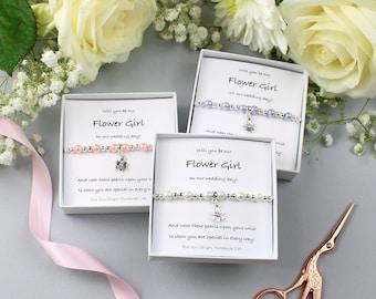 Flower Girl Proposal, Proposal Bracelet, Will You Be Our, Be Our Flower Girl, Flower Girl Poem, Wedding Favours, Destination Wedding, Pearl