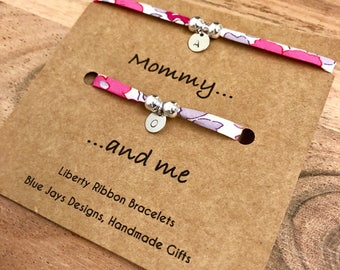 Mommy And Me Matching Liberty Bracelets Mum Daughter Twinning Floral Bracelet Personalized Initial Mom Birthday Gift