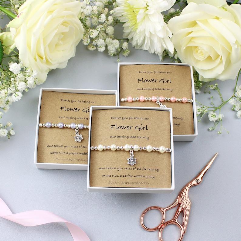 Flower Girl Gift Thank You Gift Delicate Bracelet Wedding image 0