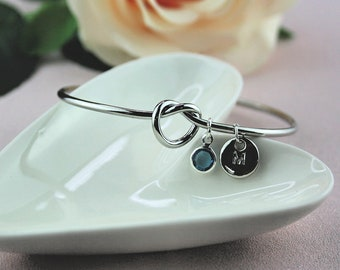 Silver Knot Bracelet, Personalised Bridesmaid Gift For Her, Christmas Gifts, Best Friend Gift