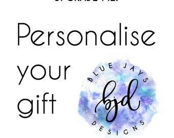 PERSONALISED Bracelet Card, Order Upgrade, Custom Wording, Add a Name