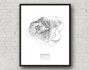 Love Hawaii Canvas Oahu Hawaii Map Custom Print for Newlyweds Gift for Couple Hearts Honeymoon Locations Wedding Maui Kauai