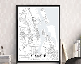 St Augustine Map Etsy