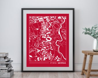 """Athens Georgia printable street map, University of Georgia campus map, gift for college graduation, college apartment wall art, 8x10"""""""