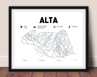"Alta Ski Area Trail Map 16""x""20"", Alta, Utah Map, Skiing Wall Art, Printable Alta Ski Map"