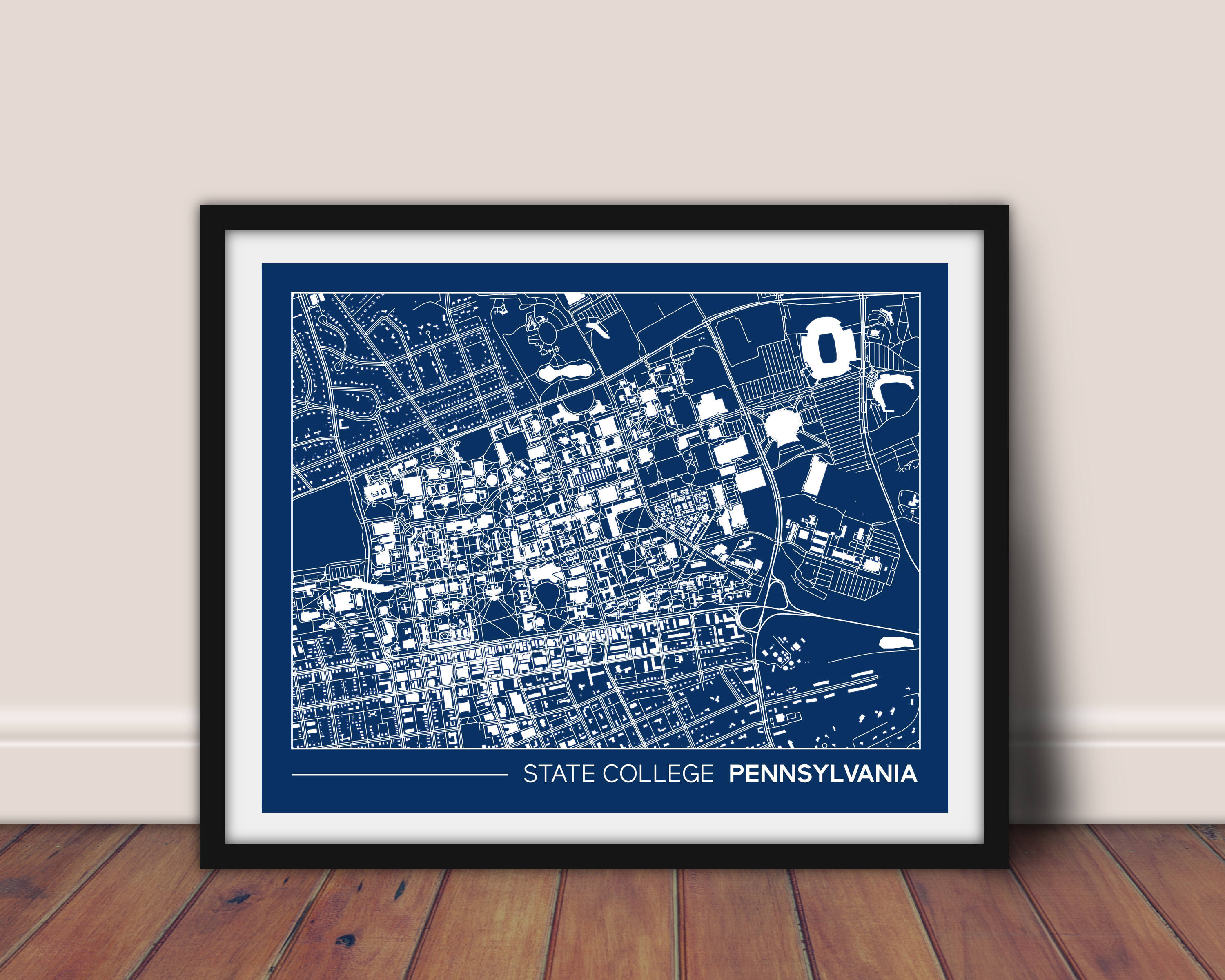 State College, Pennsylvania street map, Penn State University printable  campus map, college graduation gift, college apartment wall art 8x10