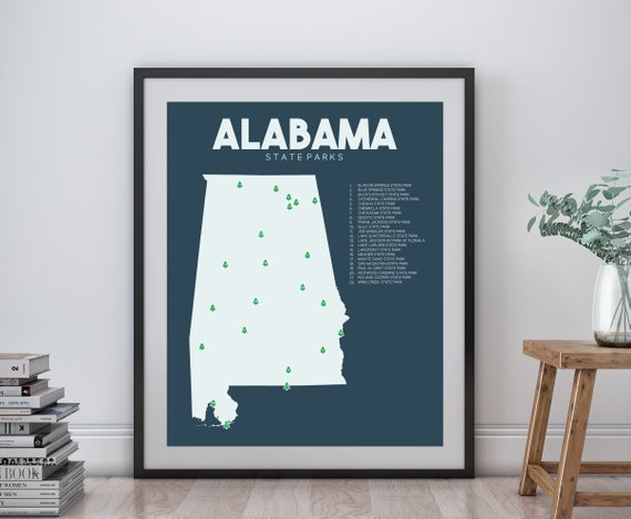 Alabama State Parks Map printable 16x20 Gift for | Etsy