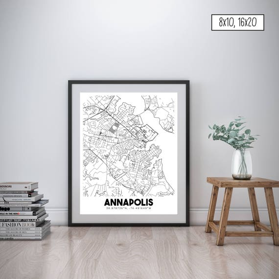 Annapolis Maryland downtown street map Annapolis city map | Etsy