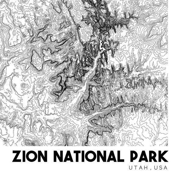 Zion National Park Topographic Map Zion Map Zion NP Print | Etsy