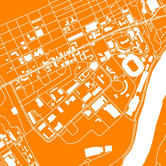 University Of Tennessee Knoxville Campus Map.Knoxville Tennessee Printable Street Map University Of Etsy