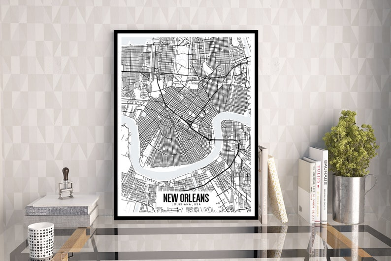 picture relating to French Quarter Map Printable named Clean Orleans Louisiana map printable, Clean Orleans map artwork, Louisiana map artwork, NOLA artwork, French Quarter, Mardi Gras wall artwork, Refreshing Orleans Reward