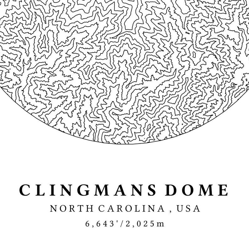 Clingmans Dome Topographic Map Appalachian Trail Map | Etsy