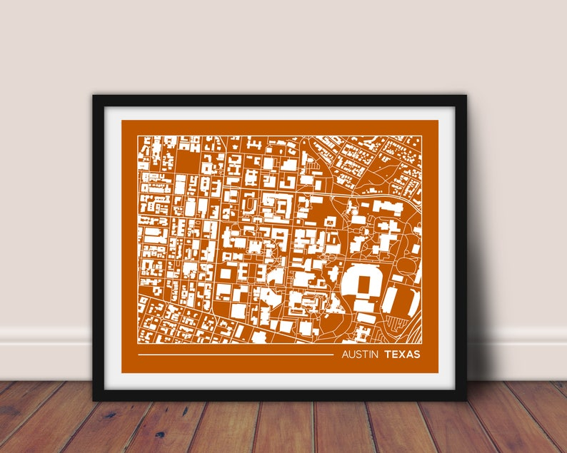 Map Of Texas University Austin.Austin Texas Street Map University Of Texas Campus Map Ut Austin Gift For College Graduation College Apartment Wall Art 8x10