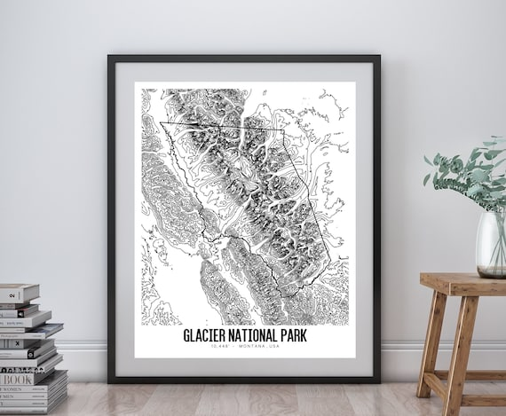 image relating to Printable Map of Glacier National Park named Glacier Countrywide Park Printable Topographic Map 16x20, Glacier NP Montana Map, Glacier Countrywide Park Wall Artwork, Printable Topographic Map