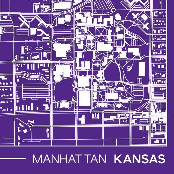 Manhattan Kansas Printable Map K State Kansas State Campus Etsy