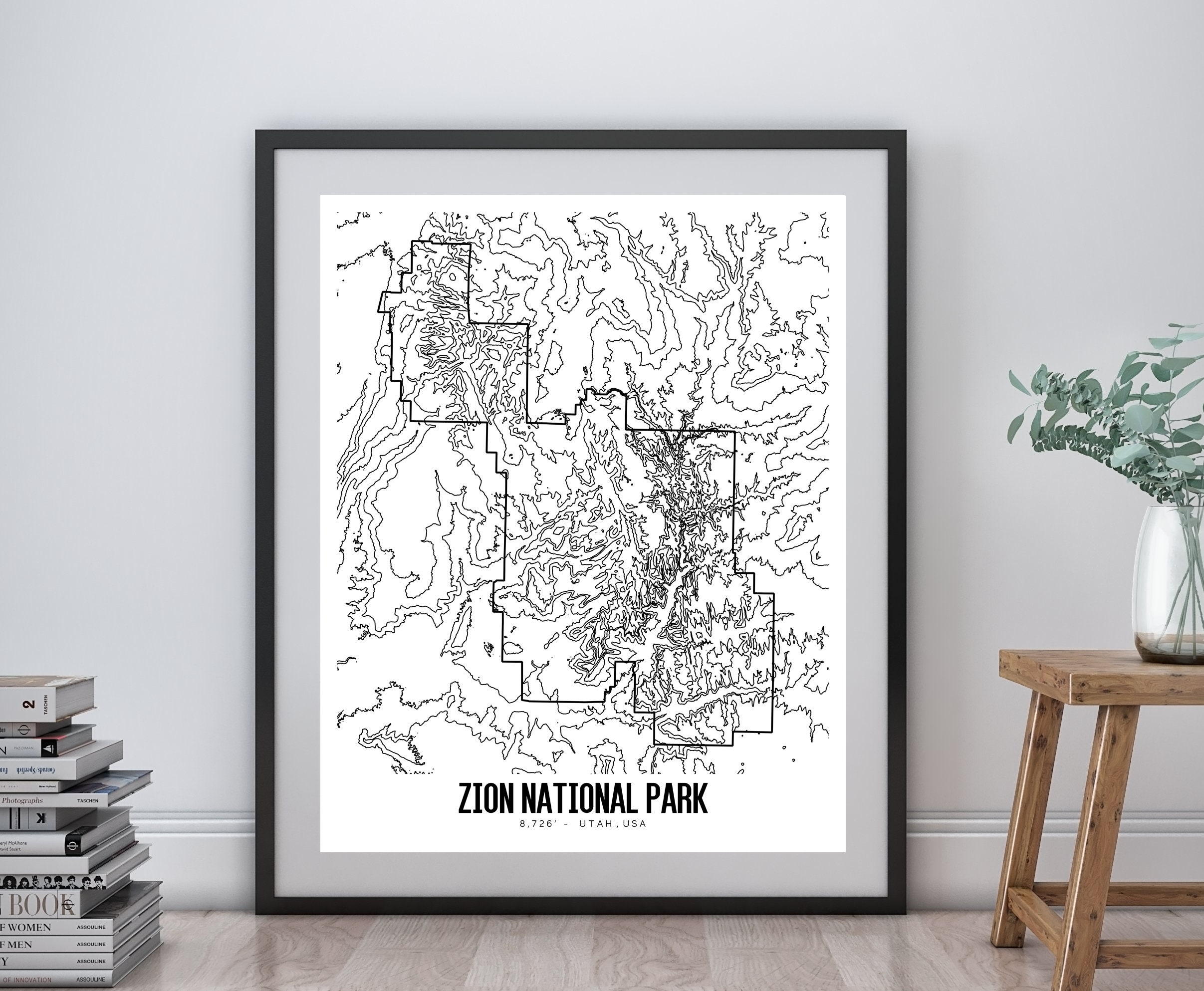 Zion National Park Printable Topographic Map 16x20 Zion Map | Etsy on