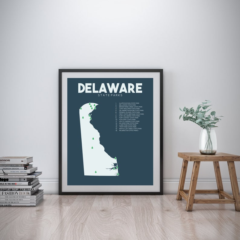 Delaware State Parks Map printable 16x20 Gift for | Etsy on