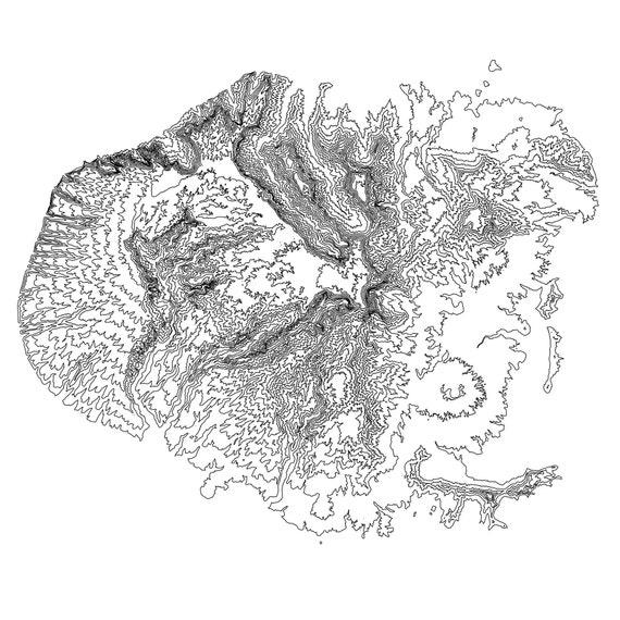 Kauai Hawaii Topographic Map Kauai Map Kauai Hawaii Print Etsy