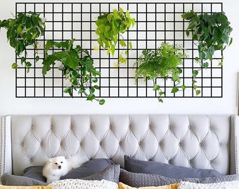 Large Wire Wall Grid, Wall Grid for Plants, Mesh Memo Board, Big MemoBoard, Hanging Plant Wall, Indoor plant wall, Metal Grid