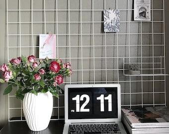 Large 98 cm x 98 cm White Wire Wall Grid + shelf, FREE CLIPS, Mesh Memo Board, Workspace, MemoBoard, Notice Metal Grid, Workspace
