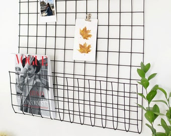 Black Wire Wall Grid + SHELF, FREE clips, School Wire Mesh Memo Board, Student Notice Metal Grid, Wall grid for magazine
