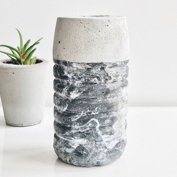 Concrete Vase Black Marble Concrete Vase For Flowers Marble Etsy